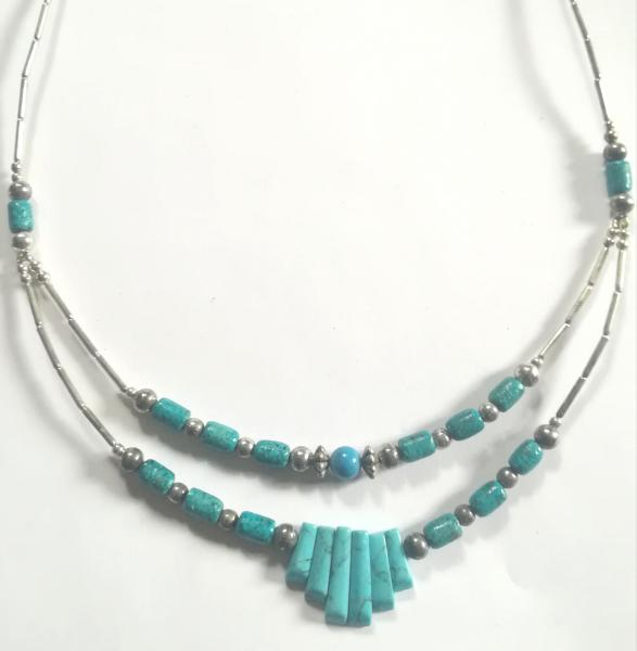 Collier double turquoise