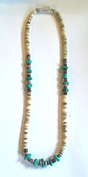 Collier pierre turquoise et coquillage