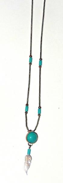 Collier turquoise et plume
