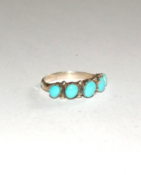 Bague 5 turquoises